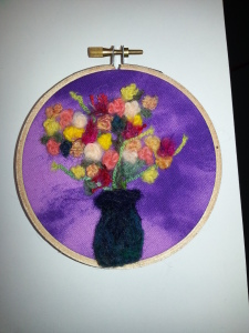 felted miniature vase